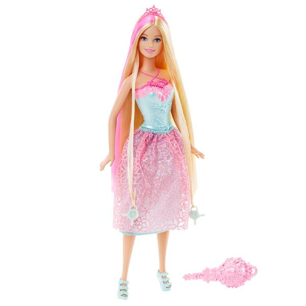 Des couleurs sharmonisent de la tête aux pieds de cette ravissante princesse aux très longs cheveux blonde (20 cm de longueur). Bustier sculpté turquoise, elle porte aussi un jupon en dentelle rose et sa tête est coiffée dun diadème. La chevelure de la pr