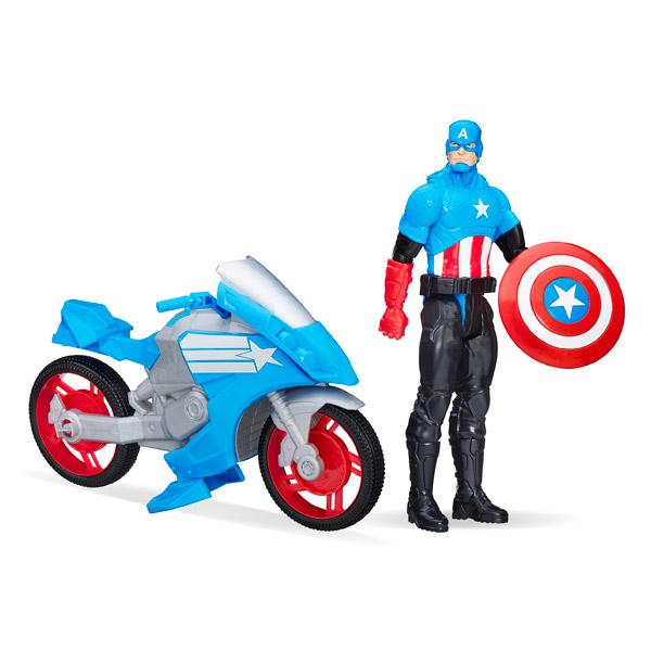 captain america avengers 30 cm avec moto hasbro king jouet figurines et cartes. Black Bedroom Furniture Sets. Home Design Ideas