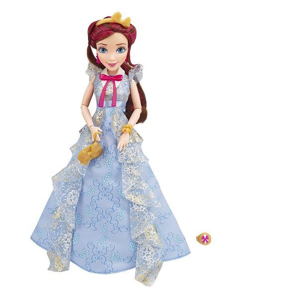 Une nouvelle génération de héros et vilains de Disney. Rencontrez Jane de Auradon. Elles est vêtue d´une tenue exquise et porte des accessoires pour le bal du couronnement y compris les boucles d´oreilles et chaussures assorties ! Contient : - Une poupée