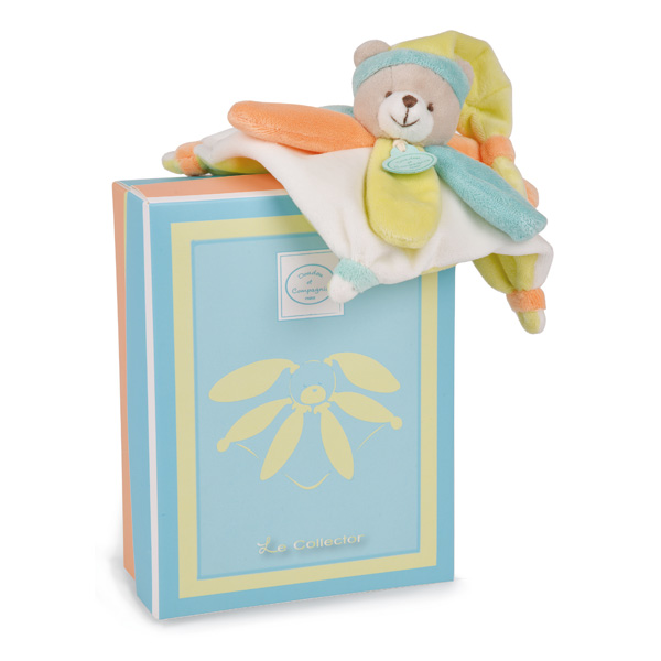Mini doudou collector Ours pêche menthe