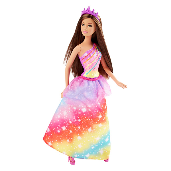 Barbie princesse arc en ciel brune mattel king jouet - Barbie en princesse ...