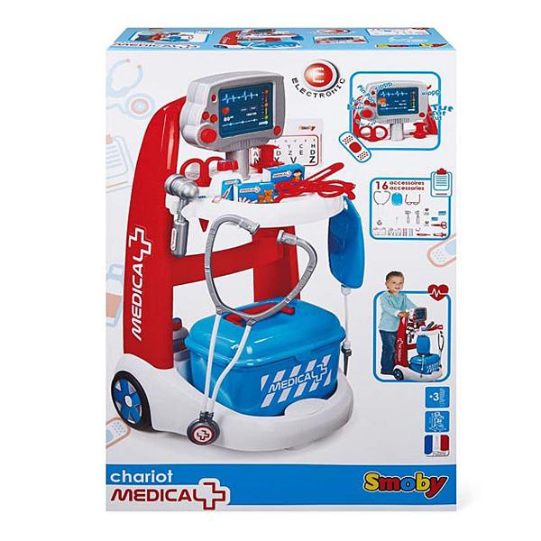 chariot m dical bleu smoby king jouet faire comme les grands smoby jeux d 39 imitation. Black Bedroom Furniture Sets. Home Design Ideas
