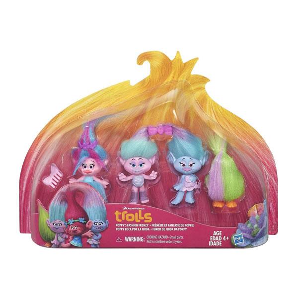 Trolls figurine 12,5cm pack de 4 + jumelles