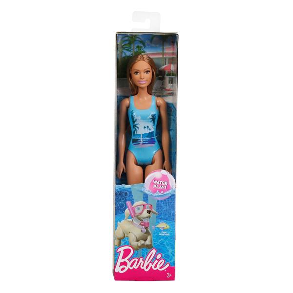 Barbie plage cheveux bruns maillot turquoise