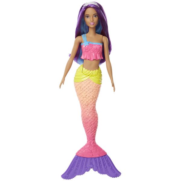 Cette Barbie sirène multicolore aux cheveux violets est prête à vous suivre afin de vivre de nombreuses aventures aquatiques. Son bustier et ses nageoires sont finement sculptés et ornementés de perles, de fleurs, de dentelles ou de rubans multicolores. S