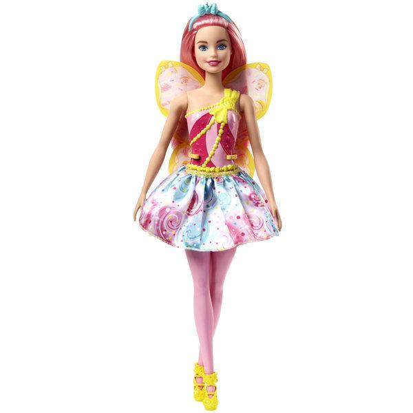 Les trois royaumes fantastiques, celui des joyaux, celui des bonbons étincelants et le royaume des arc-en-ciel géants ont délégué chacun une émissaires de qualité; pour la grande fête du printemps. Voici la poupée Barbie fée multicolore rose . Elle a une