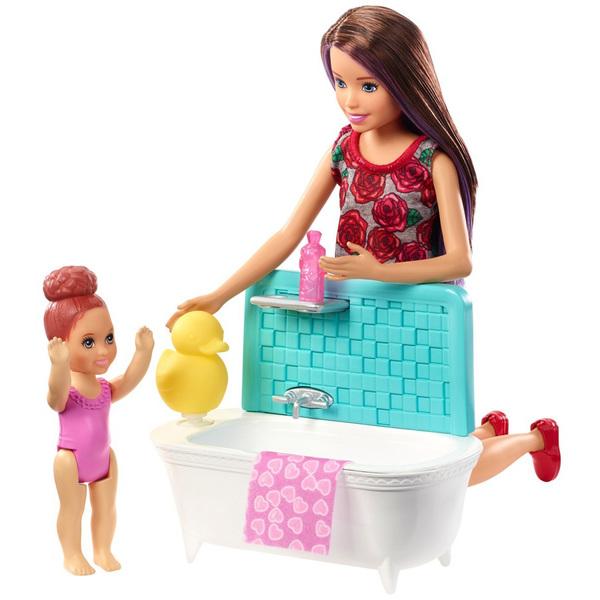 Barbie-Coffret Babysitter avec baignoire 2