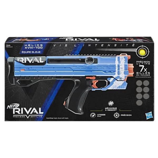 Pistolet Nerf Rival Helios XVIII-700 Bleu et billes en mousse
