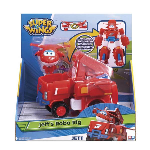 Super Wings-Véhicule transformable 18 cm Jett avec figurine