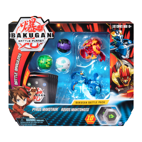 Figurines Bakugan Battle Planet Pack - Pyrus Maxotaur et Aquos Mantonoid