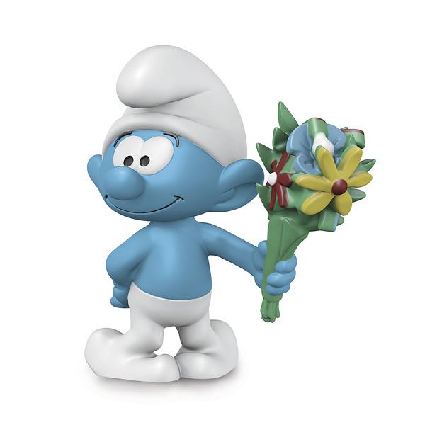 Schtroumpf avec bouquet de fleurs