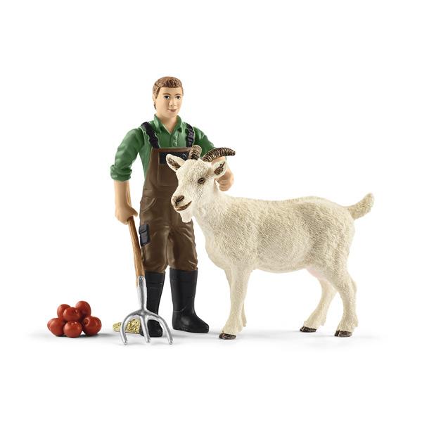 Figurine fermier avec chèvre