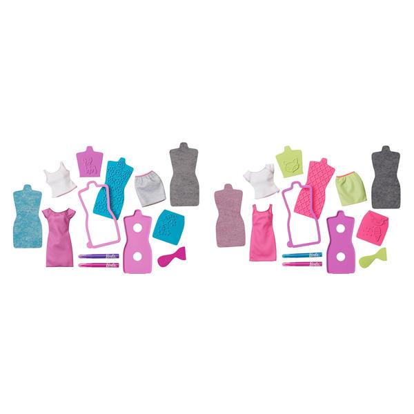 Créez des tenues uniques à votre poupée Barbie. Pour enrichir le jeu de stylisme, un coffret de 10 accessoires offrent la possibilité de créer des impressions magiques sur le tissu des tenues de Barbie. Grâce aux feuilles de carbone, aux motifs en relief