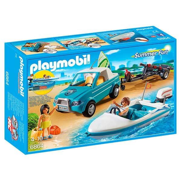 Ce coffret contient le kit Playmobil comprenant la voiture et le bateau à moteur avec les différents accessoires nécessaires à une balade en mer. Il fera le bonheur des enfants âgés de 4 à 10 ans. L´ensemble Playmobil voiture et bateau à moteur émerveille