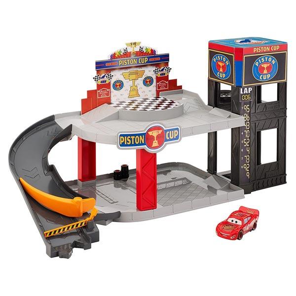 Garage cars piston cup mattel king jouet garages et for Garage belfort auto mantes la jolie