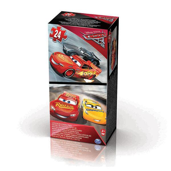 Deux puzzles de 24 pièces à effet lenticulaire aux couleurs du nouveau film Cars 3 . Pour voir Flash Mc Queen et ses amis s´animer ! L´image bouge quand on change de position et votre enfant découvrira donc 2 visuels de l´univers de Cars 3 sur chaque puzz