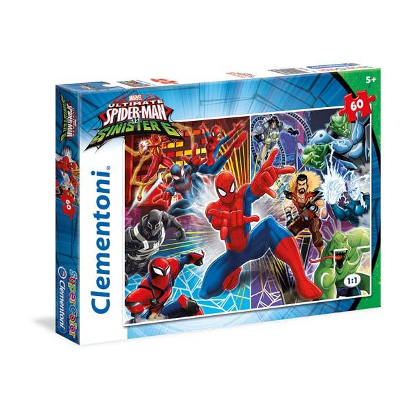 Votre enfant aimera assembler ce puzzle de 60 pièces et retrouver ses personnages préférés de Spiderman. Dimensions : 33,5 x 23,5 cm.