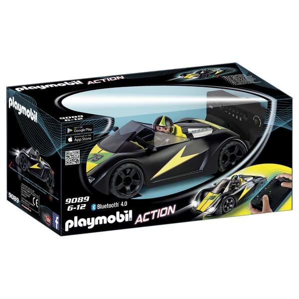 9089-Playmobil Action Voiture de course noire radiocommandée