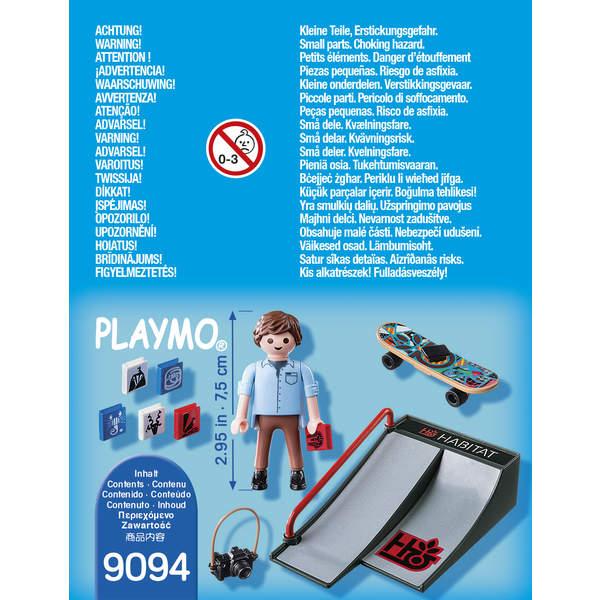 9094-Figurine skateur avec rampe Playmobil