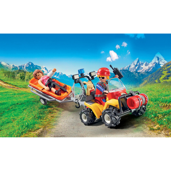 9130-Playmobil Action Secouriste des montagnes avec quad