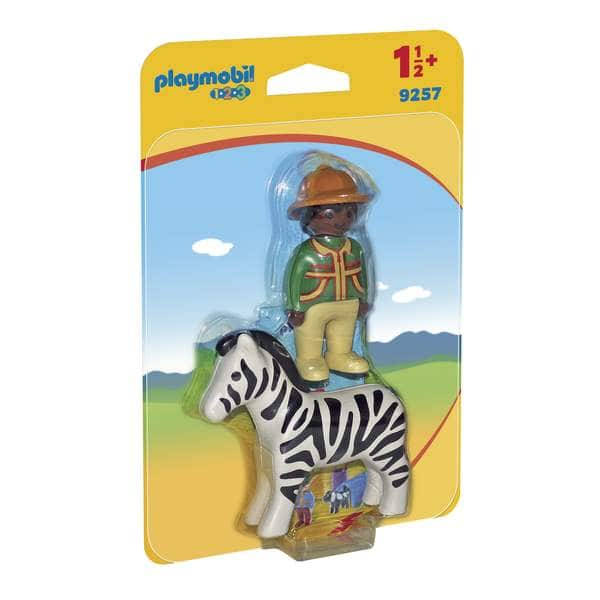 9257-Playmobil 1.2.3 Figurine soigneur avec zèbre
