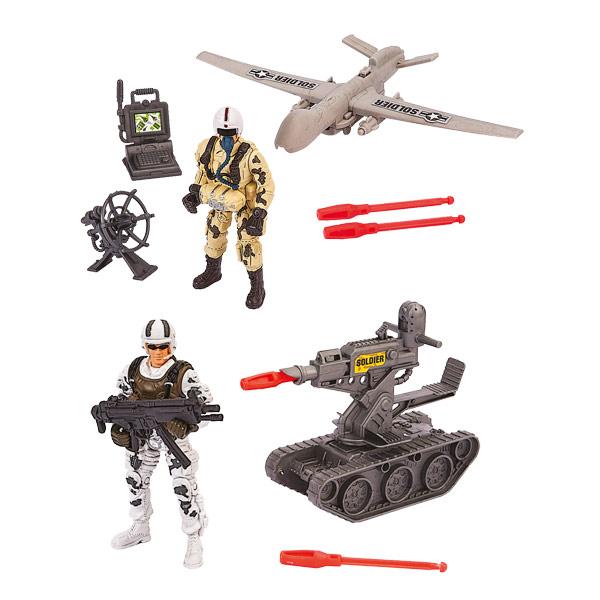 Véhicule militaire avec figurine soldat et accessoires