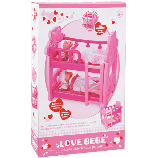 lit superpos pour poup es love bebe king jouet accessoires de poup es love bebe poup es. Black Bedroom Furniture Sets. Home Design Ideas
