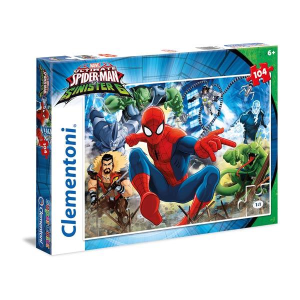 L´univers de Spiderman réunit en un puzzle ! Le puzzle Spiderman est composé de 104 pièces pour que le résultat final soit spectaculaire! Une fois achevé, le puzzle laissera apercevoir Spiderman en pleine action mais aussi les méchants. Ce puzzle est cons