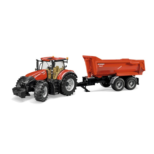 Tracteur Case IH Optum avec remorque Krampe
