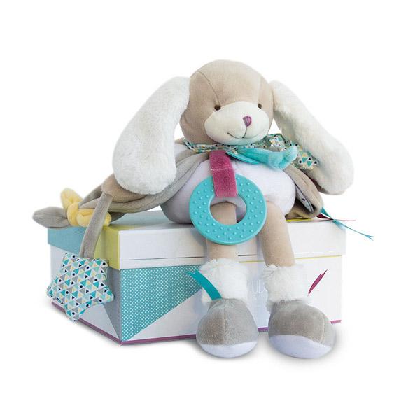 Une peluche animalière idéale comme jouet d´éveil pour bébé ! Adorable avec ses longues oreilles et son corps souple très doux, Toopi est un joli toutou très tendre à câliner. L´association de ses différentes matières douces, l´harmonie des couleurs fraîc