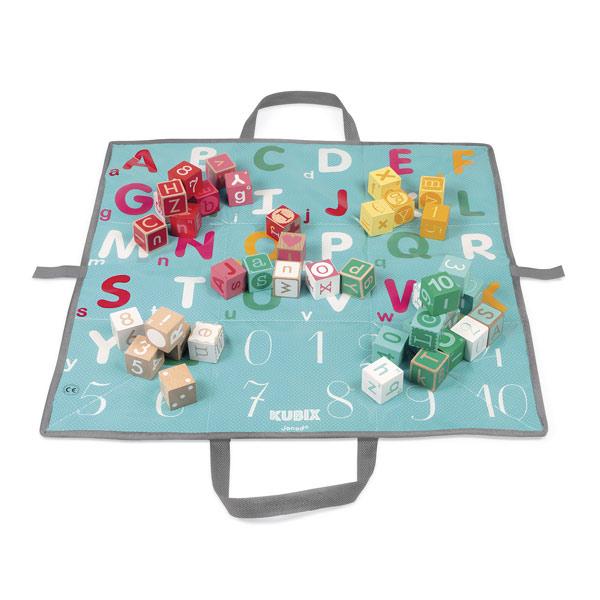 Kubix - 40 cubes lettres et chiffres bois