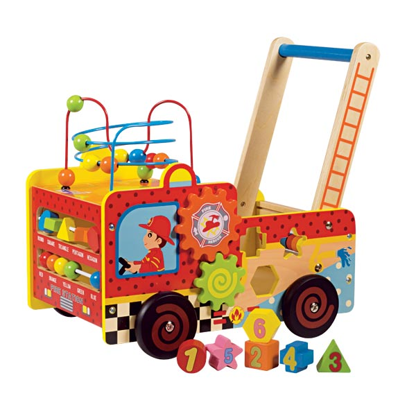 chariot pompier en bois activit s wood n play king jouet. Black Bedroom Furniture Sets. Home Design Ideas