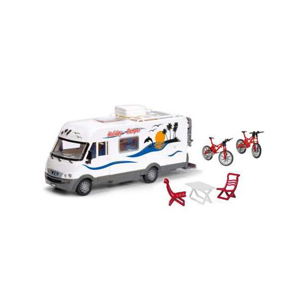 Camping Car à l´échelle 1/18 ème avec lequel votre enfant pourra partir pour de nombreuses destinations. Avec des possibilités de jeu optimales grâce au toit ouvrant qui permet de jouer avec les accessoires à l´intérieur du véhicule. Il dispose de pièces