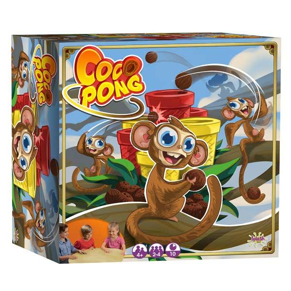 Avec le jeu Coco Pong, l´ambiance est garantie et les rebondissements incessants. Dans ce jeu pour petits et grands, chaque joueur dispose dun petit singe quil va utiliser pour catapulter les noix de coco dans les gobelets afin de les récupérer sur sa pla