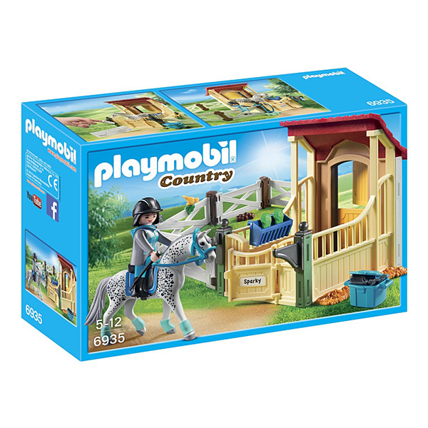6935 box avec cheval appaloosa playmobil king jouet playmobil playmobil jeux d 39 imitation. Black Bedroom Furniture Sets. Home Design Ideas