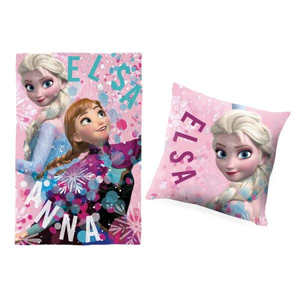 Votre enfant pourra faire la sieste en compagnie des deux soeurs du dessin animé de Disney, la Reine des Neiges. Cet ensemble se compose d´un coussin double face et d´un plaid en velours. Confortablement installé, il pourra faire de beaux rêves. Dimension