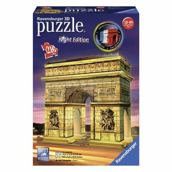 puzzle 3d arc de triomphe night edition ravensburger king jouet puzzles 3d ravensburger puzzles. Black Bedroom Furniture Sets. Home Design Ideas