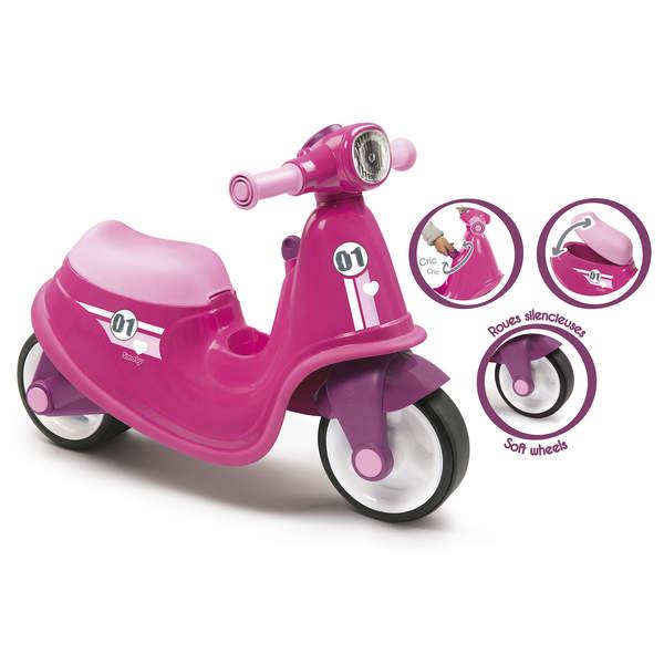 Porteur enfant scooter avec roues silencieuses - rose