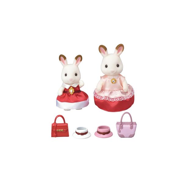 Duo figurines fille et maman lapin chocolat