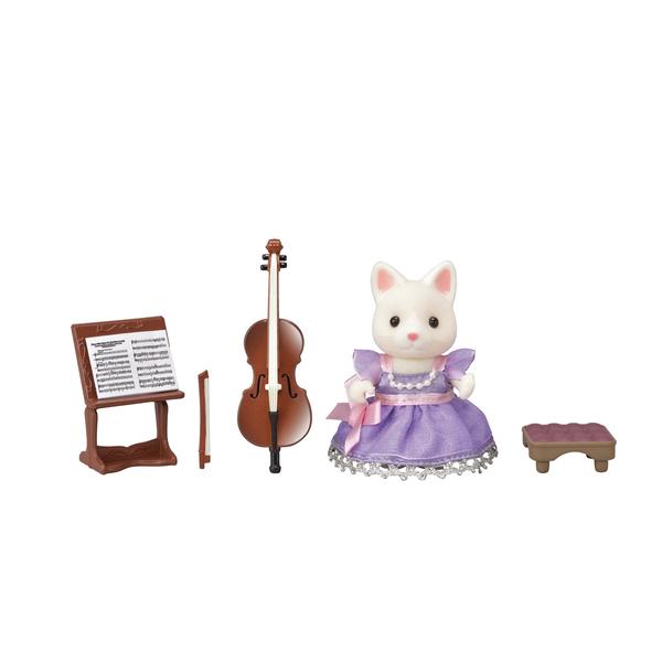Sylvanian-Figurine fille chat soie violoncelliste