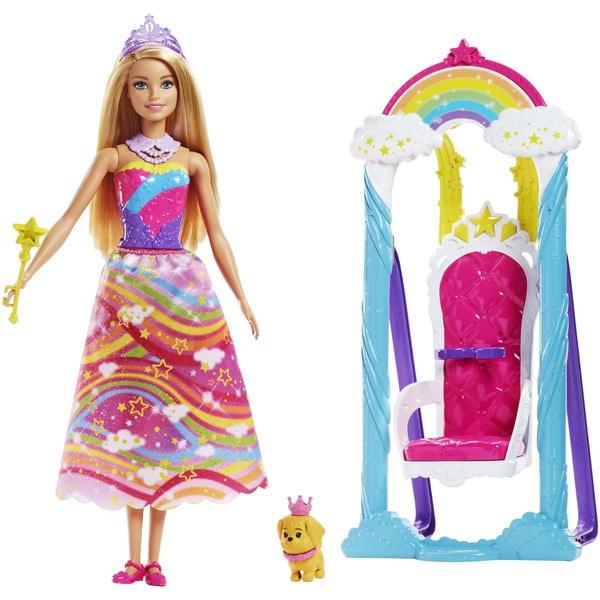 Barbie Dreamtopia est un univers imaginaire plein de magie imaginé par Chelsea, la petite sœur de Barbie . Votre enfant pourra se joindre à elle en imaginant de nombreuses histoires féériques. La poupée Barbie porte jupe et un bustier avec des chaussures