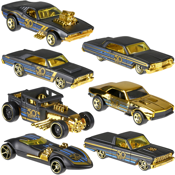 voiture hot wheels 50 me anniversaire noir et or mattel king jouet voitures radiocommand es. Black Bedroom Furniture Sets. Home Design Ideas
