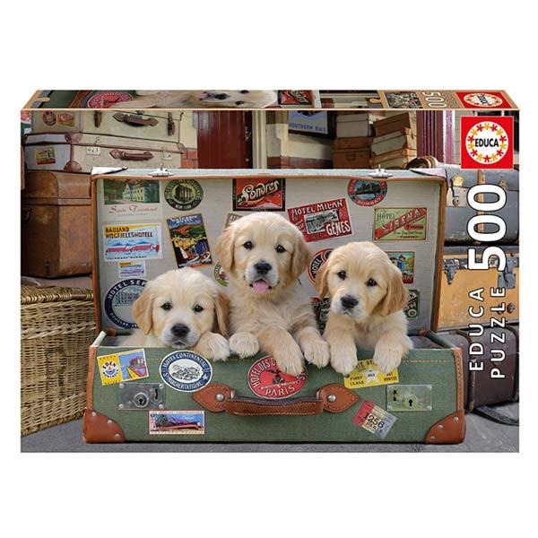 Puzzle 500 pièces des chiots dans les bagages