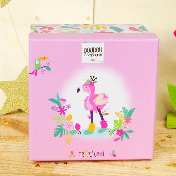 Tropicool-Flamant rose Pantin avec doudou 20 cm