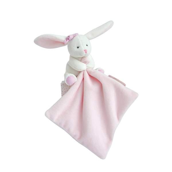 Doudou lapin blanc avec mouchoir rose