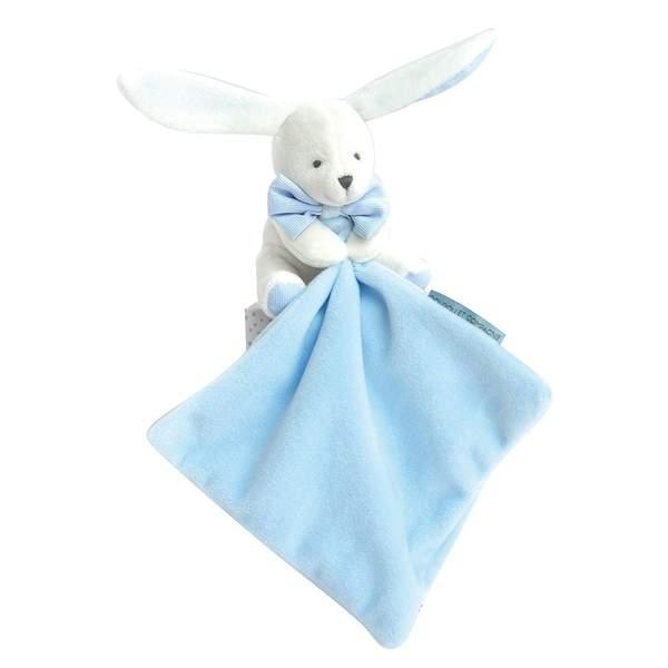 Doudou lapin bleu avec mouchoir bleu