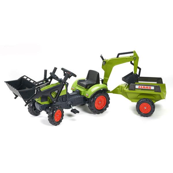 Tracteur Claas Arion avec remorque et excavatrice
