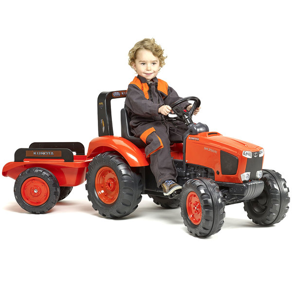 tracteur p dales avec remorque kubota m135gx falk king jouet v hicules voitures p dales. Black Bedroom Furniture Sets. Home Design Ideas