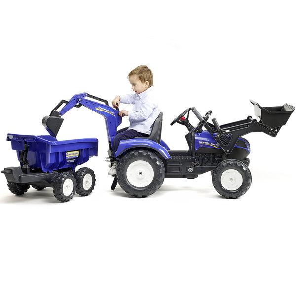 Tracteur New Holland avec excavatrice et benne maxi
