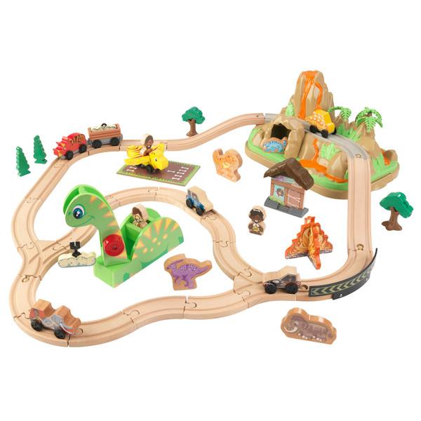 Circuit de train en bois Bucket Dinosaure